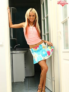 Charming girl will drive you crazy, showing her sexy teen tits and wonderful body.