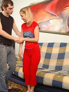 Blonde college-girl strips for her boyfriend