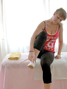 Cute tall European eighteen year old babe gets a nice massage before getting her tight teen pussy ba