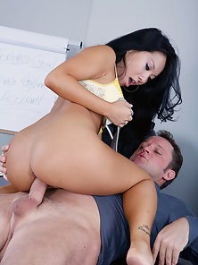 Hot horny asian gets fucked hard in the office