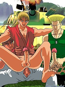 Long haired blond hentai gay riding anally two massive shafts outdoors