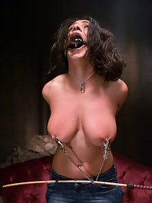 Busty girls gets worked over hard and fucked in bondage.