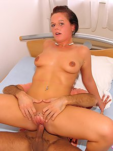 Natural Tits Teen Reveals Her Pierced Pussy While Riding a Cock