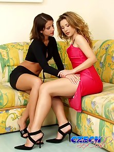 Two pleasant Czech lesbians licking their yummy slits on the couch