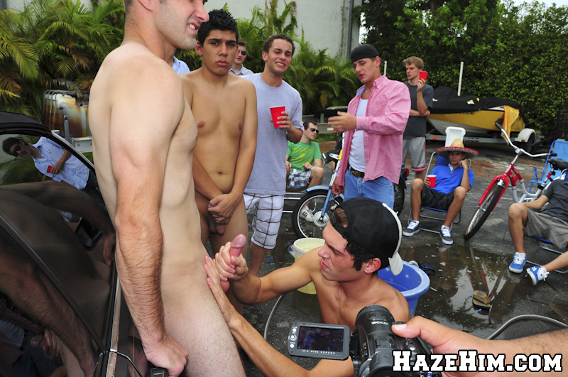 Wet Naked Pledges Get A Little Close At The Car Wash -9581