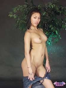 Hot asian strips her clothes off