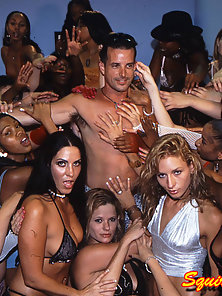 Dozens of whores squirting together