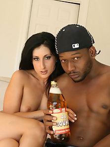 Big booty Luscious Lopez bounces on a big black cock