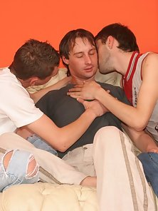 Three insatiable studs suck and fuck each other in these
