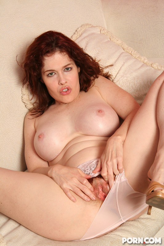 gorgeous milf with great tits spreading her hairy pussy - movie shark