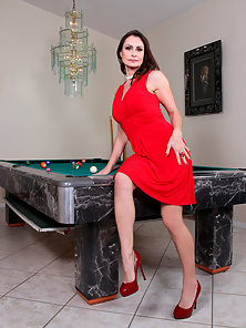Anilos Nora Noir teasing on top of pool table