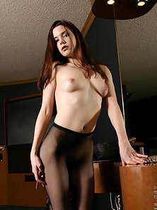 Redhead Sexy Babe in Black Pantyhose Teasing and Rubbing Sweet Pussy