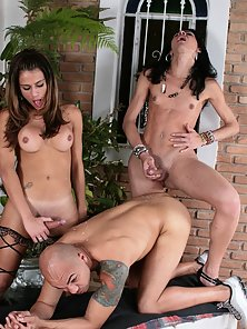Dick loving dude gets it on with two shemale sexpots here