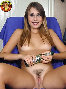 Naked coed fucks herself with an empty beer bottle and gives an oral pleasure to her boyfriend