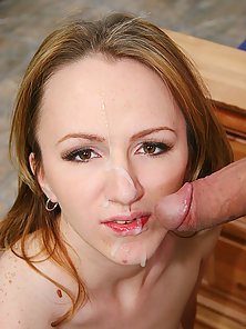 Cum drips off the face of dirty blonde babe after Ramons explosion