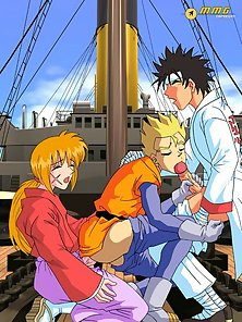 Happy anime gay 3some made at a huge boat