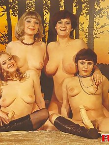 Four hairy seventies ladies using their big toys