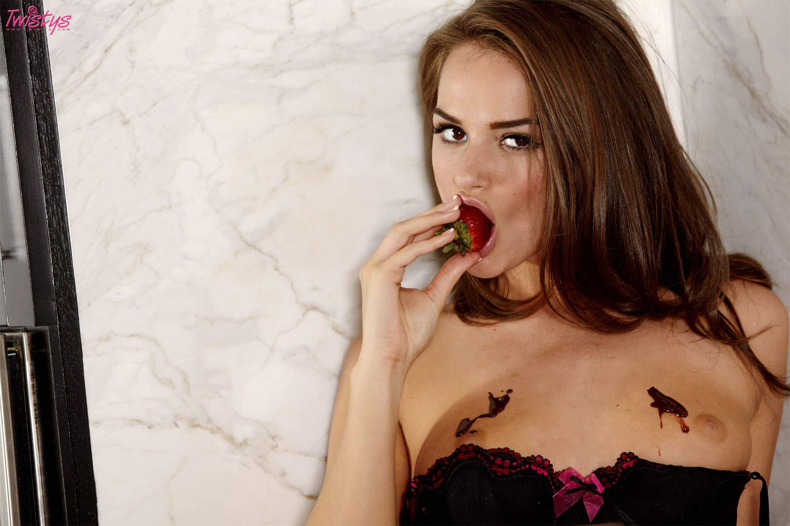 tori black with strawberries, chocolate syrup and her wet pussy