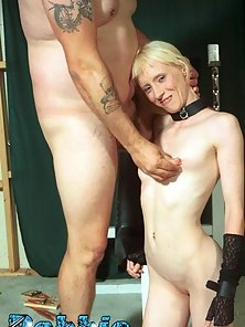 Petite blonde gets wax dripped all over her then is bound