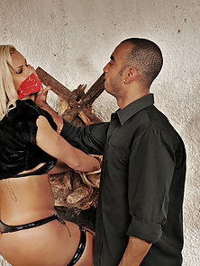 Blonde shemale bound and fucked hard