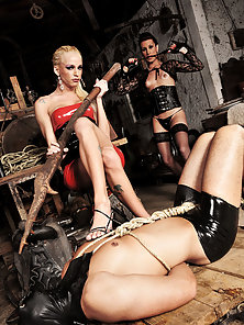 Gang of tranny dommes punish their new slave