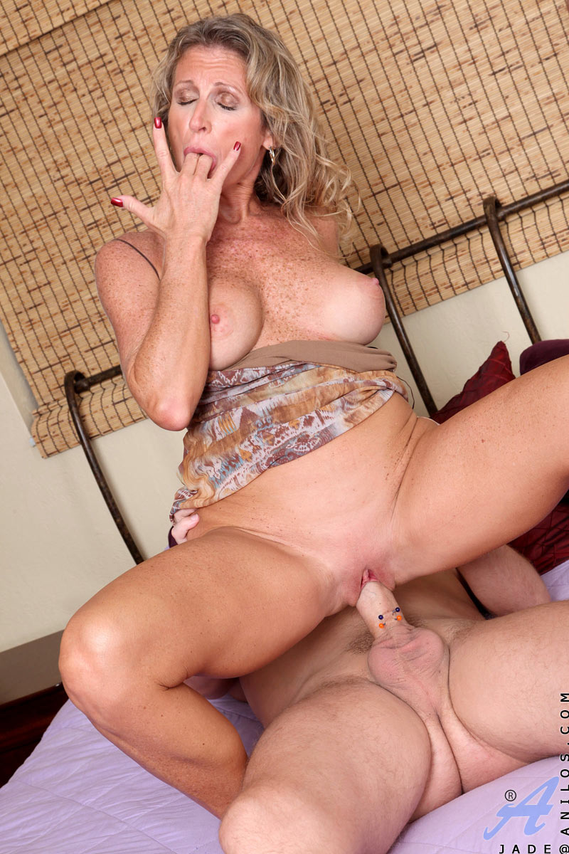 horny cougar jade takes on a huge cum load after getting pounded