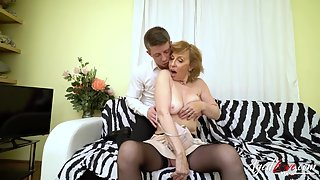Blonde Grandma Prepared Gently and Fucked Hard by Young Cock