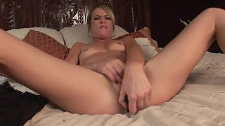 Skinny Babe Enjoys Solo Masturbation by Fat Dildo on Bed