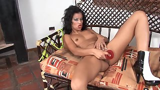 Skinny Girl Puts Dildo in Her Juicy Pussy on Couch