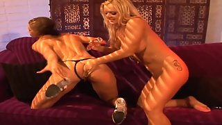 Brunette Babe Shows Her Natural Tits and Railed by Blonde Friend with Dildo