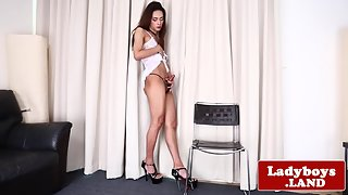 Beautiful ladyboy tugging herself to climax