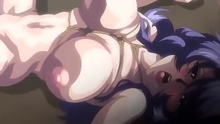Huge Boobs Anime Girls Display Their Naked Figures in Front of Dude with Bondage Activity