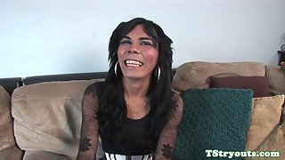 Casting latina ts jerks off and gets handjob