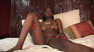 Tattooed Ebony Spreads Her Legs and Shows Her Chocolate Pussy on Bed