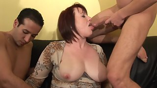 Busty MILF Gets Rammed by Her Dudes on Couch