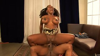 Ebony Babe with Big Melons Enjoys in Riding Meaty Shaft