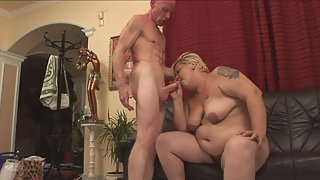 Blonde Mature Enjoys in Screwing With Bald Stud