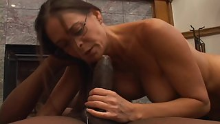 Hot Secretary Blows BBC on Her Knees