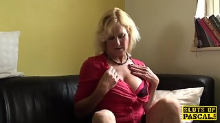 Glam brit grandmother throatfucked