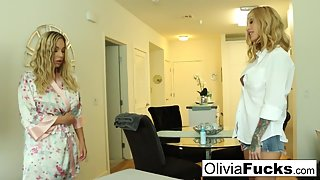 Creepy hot masseuse seduces dumb blonde