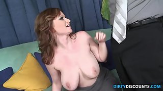 Busty housewife pussyfucked on the sofa