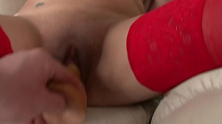Girl in Red Lingerie And Stocking Masturbates