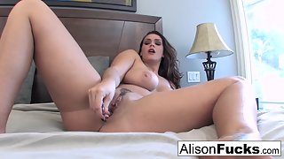Big Boobs Alison Tyler Enjoys Solo Masturbation with Dildo on Bed