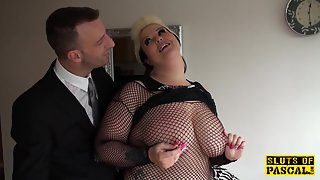 fat brit sub pussyfucked in lingerie