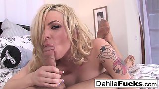 Blonde Dahlia Sky Getting Rammed by Tattooed Guy from Behind