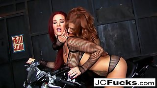 The two Jaydens get wet and horny on a motorcycle
