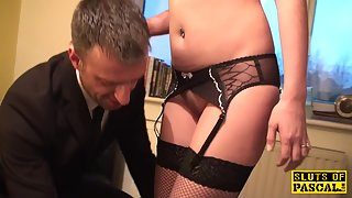 brit sub skank dominated while cockriding