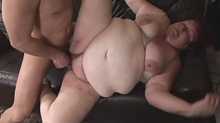 BBW Gets Railed in Doggy Style by Young Dude