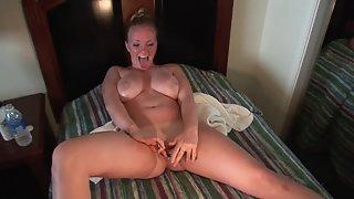 Busty Sluts Enjoys Dildo in Her Wet Cunt after Lick by Handsome Hubby