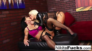 Busty Nikita Von James and Jewel Jade Licking Muff on Couch